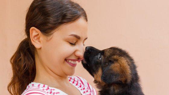 Ein Mädchen mit einem Hund